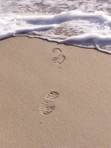 Footprint in sand beach image